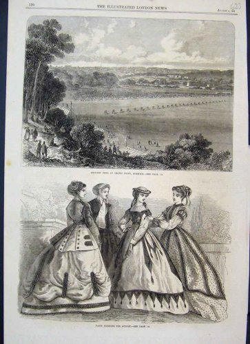 1866 Archery Fetecrown Point Paris Fashion Old Print