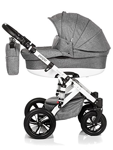 Baby-Pram-Pushchair-Stroller-Buggy-Travel-System-Trend-Pepe-20lb-white-FRAME-3in1