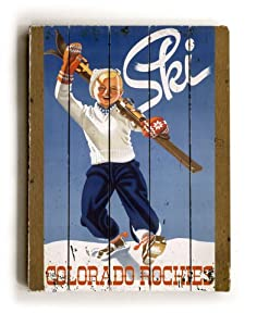 "ArteHouse planked wood sign 18"" x 24"" Vintage Colorado Ski Wall Décor"