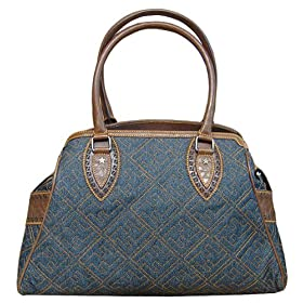 Fendi Blue Denim Topstitched Bag De Jour Handbag 8BN162-YGD-F0EVC