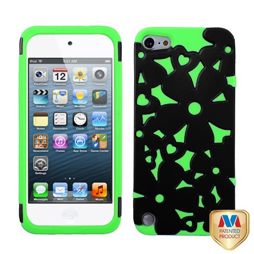 Fits Apple Ipod Touch 5 (5Th Generation) Snap On Cover Rubberized Black/Electric Green Flowerpower Hybrid (Does Not Fit Ipod Touch 1St, 2Nd, 3Rd Or 4Th Generations)