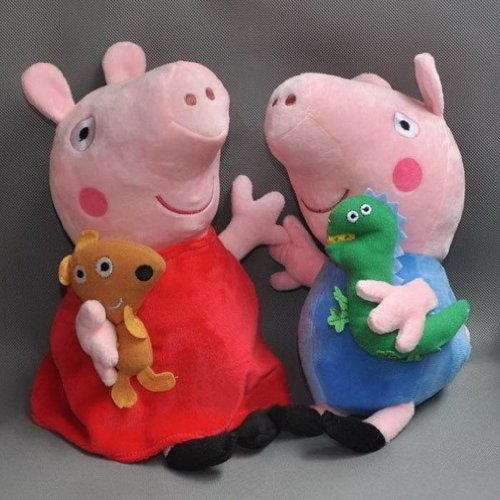 "Pink Plush Peppa Pig Stuffed Doll Toys Figure Peppa And George For Kids Girls Boys Christmas Lovely Gifts 8"" 2Pcs front-9998"