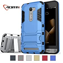 buy Zenfone 2E Case, Asus Zenfone 2E Case, Aomax [Dual Layer] Hybrid Slim Fit Protective With Kick-Stand Shock Absorption Protection For Asus Zenfone 2E (Gtx Blue)