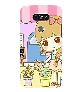Printvisa Premium Back Cover Sweet Girl Gardening Design For LG G5::LG G5 Dual H860N with dual-SIM card slots