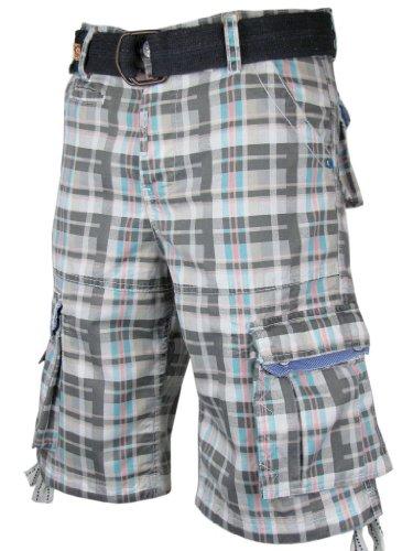 Mens Cargo Shorts 'Tokyo Laundry' Blue & Grey Check