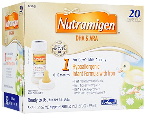 Nutramigen Formula for Cows Milk Allergy, Nursette Bottles, 2 Ounce (6 Count) - 1