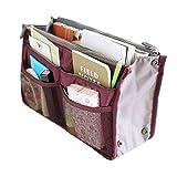 Mily Nylon Handbag Orangiser, Tidy Travel Hand Pouch Insert Comestic Gadget Purse Organizer Bag, Expandable with Handles Dark Red