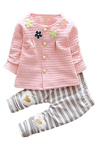 Baby Girls 2pcs Button Down Top Cardigan Strip Legging Pants Clothing Set(Pink,12-18 months)