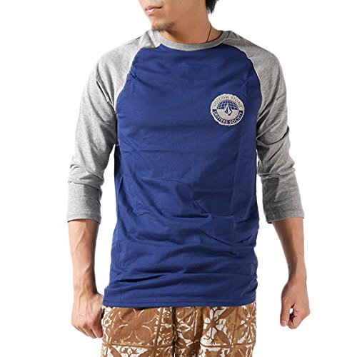VOLCOM ボルコム ラグランTシャツ GLOBALCONNOTATIO-NRGL A4321410 ラグラン Tシャツ 七分袖 七分 無地 ロゴ プリント メンズ 並行輸入品 (S, Navy (MDB))