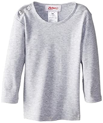 Zutano Unisex-baby Infant Long Sleeve Heathered T-Shirt, Gray, 6 Months