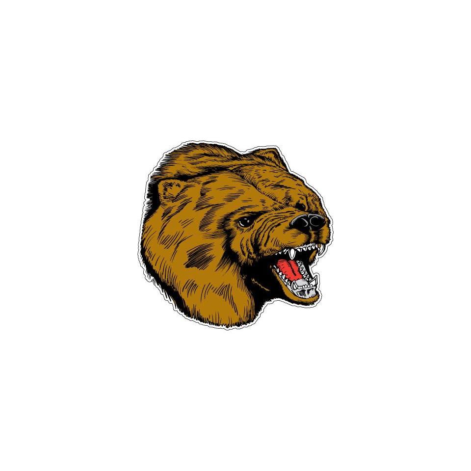 Brown Bear Grizzly Head Hunter Car Bumper Sticker Decal 4.5x4.5