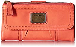 Fossil Emory Zip Wallet, Papaya, One Size