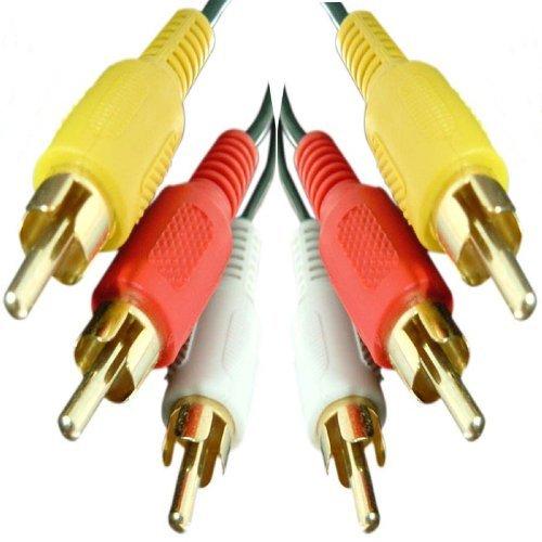 Càble 1m Triple RCA - Premium Qualité / or 24 carats / màle à màle Audio / Left & Right & Vidéo / Stéréo / 3RCA / 3xRCA - 1,0 m