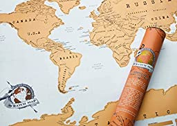 Scratch Off World Map Deluxe Edition Poster Personalized Travel Vacation - Share Your Travel Stories (White)