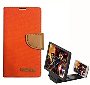 Aart Fancy Wallet Dairy Jeans Flip Case Cover for SamsungSamsung7106 (Orange) + 3D SCREEN MAGNIFIER - HD VIDEO AMPLIFIER - with Stylish foldable holder stand by Aart Store.