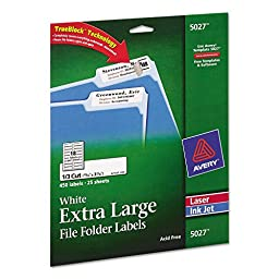 New-Avery 5027 - Extra-Large 1/3-Cut Filing Labels, 15/16 x 3-7/16, White, 450/Pack - AVE5027