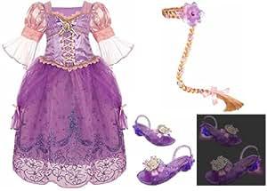 Disney Store Rapunzel Costume: Dress Size Medium 7/8, Light Up Shoes (13/1), Wig