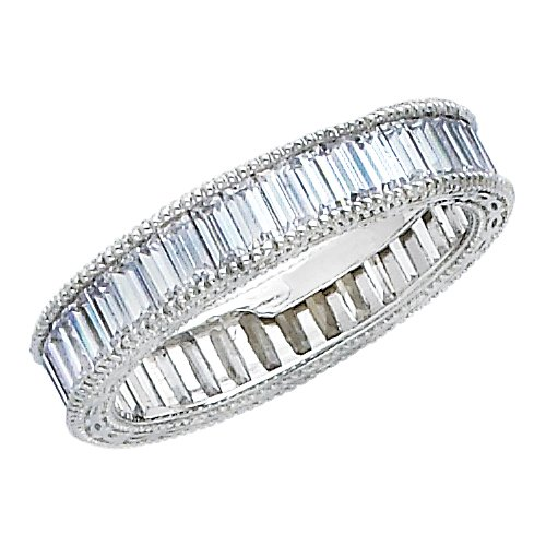 14K White Gold Channel set Baguette-shape CZ Cubic Zirconia Eternity Ring Band - size 5