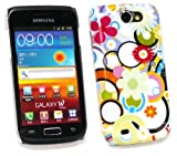 FLASH SUPERSTORE SAMSUNG I8150 GALAXY W CIRCLES & FLOWERS SUPER SLIM CLIP ON PROTECTION CASE/COVER/SKIN