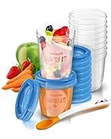 Philips AVENT Système de conservation des purées (10x180ml, 10x240 ml, 20 couvercles, 1 cuillère de sevrage, 1 livret de recettes)