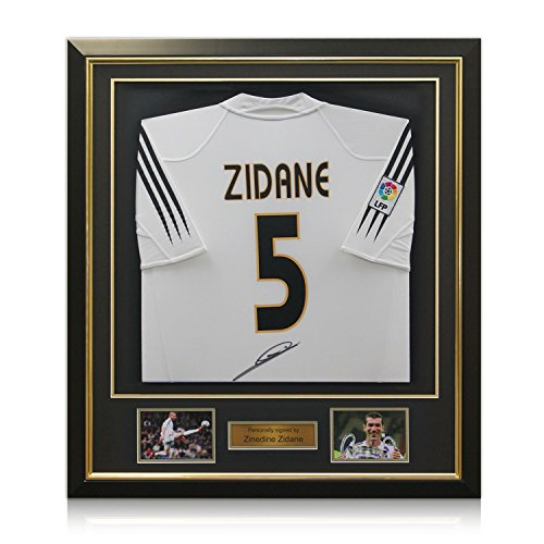Deluxe Framed Zinedine Zidane Signed Real Madrid 2004-05 Football Shirt (Gold Inlay) chris paul signed i o basketball signed in silver