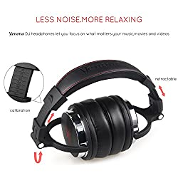 Yenona Adapter-free DJ Headphones for Studio Monitoring and Mixing,Sound Isolation, 90° Rotatable Housing with Top Protein Leather Earcups, 50mm Driver Unit Over Ear DJ Headsets with Mic from Yenona
