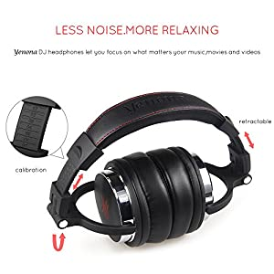 Yenona Adapter-free DJ Headphones for Studio Monitoring and Mixing,Sound Isolation, 90° Rotatable Housing with Top Protein Leather Earcups, 50mm Driver Unit Over Ear DJ Headsets with Mic