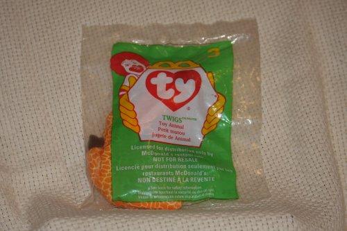 TY Teenie Beanie Babies Twigs the Giraffe Stuffed Animal Plush Toy - 6 inches long - In original plastic bag - 1