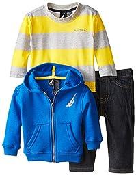 Nautica Baby Boys\' 3 Piece Set Fleece Long Sleeve Tee Denim Pant, Blue, 24 Months