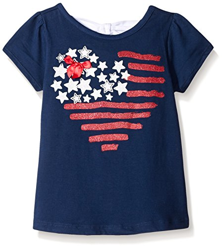 Kidtopia Toddler Girls Flutter Sleeve Tee with Stars and Stripes Heart, State Blue, 4T
