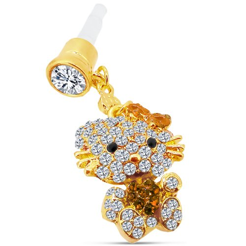 Cute Blinged Kitty Dust Plug Jewelry Charm For Any Device With Earphone Jack 3.5Mm