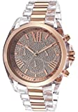 Michael Kors Bradshaw Chronograph Rose Crystal Pave Dial Transparent Resin and Gold-tone Ladies Watch MK5905