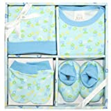 Baby Boy 4 Piece Gift Set Blue Bodysuit, Beanie Hat, Scratch Mittens & Bootees ABC design (0-6 months)
