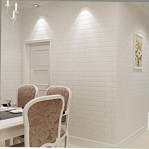 White Faux Brick: HaokHome ZZ-03 Vinyl Faux White Brick Wallpaper For Living