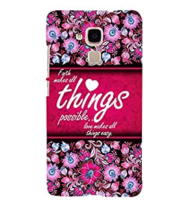 Love Makes All Things Easy 3D Hard Polycarbonate Designer Back Case Cover for Huawei Honor 5C : Huawei Honor 7 Lite : Huawei GT3
