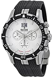 Edox Grand Ocean Chronograph White Dial Black Rubber Mens Watch 10022-3-AIN