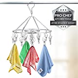 Laundry Clothesline Hanging Rack for Drying Clothing Set of 18 Stainless Steel Clothespins Round