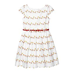 Piknik Kids Girl's White Dog And Ball Print Belted Prom Dress from Piknik