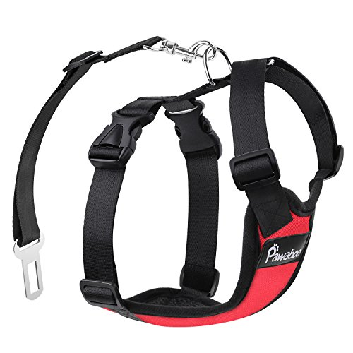 Pawaboo Dog Safety Vest Harness, Pet Dog Adjustable Car Safety Mesh Harness Travel Strap Vest with Car Seat Belt Lead Clip, RED (Pet Vehicle Safety Harness compare prices)