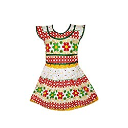 Fashionitz Girl's Printed Cotton Multicolor A-line Frocks