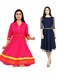 Sky Global Women's Regular Wear Kurti (Combo Pack Of 2)(SKY_KC_6003)(SKY_7001_Pink)(Sky_Kurti_7009,Blue,Free Size)