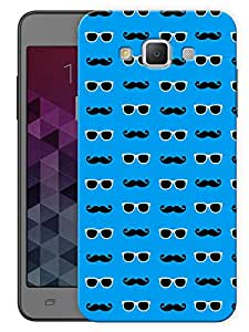 """Humor Gang Glasses And Moustaches - Blue Printed Designer Mobile Back Cover For """"Samsung Galaxy E5"""" (3D, Matte, Premium Quality Snap On Case)"""