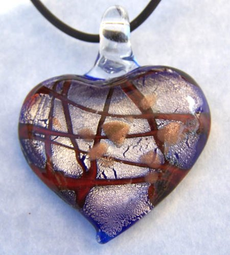 Murano Art Glass Pendant Lampwork Necklace Heart Y02
