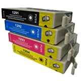King Of Flash Epson Compatible Full Set of High Yield Black (T1291)/ Cyan (T1292)/ Magenta (T1293)/ Yellow (T1294) Ink Cartridges. 1 x T1295 Multipack Ink Cartridge Set
