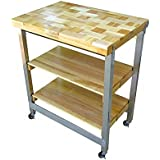 Oasis Concepts Stainless Steel/Wood The Deluxe Flip and Fold Island, Natural