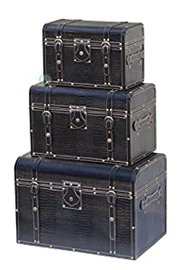 Quickway Imports Leather Storage Trunks, Black, Set of 3