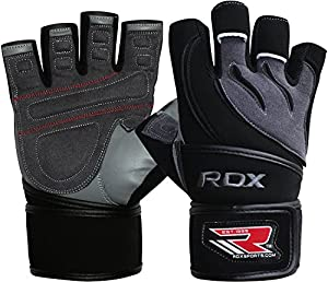 Authentic RDX Gel Weight Lifting Body Building Gloves Gym Strap training Leather Training Workout, Small