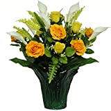 Yellow Roses Cream Calla Lily Weighted Potted Silk Arrangement by Sympathy Silks® (PT1545) Sale