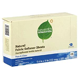 Seventh Generation, Natural Fabric Softener Sheets, Free/Clear, 6.4 in x 9 in, 80 Sheets