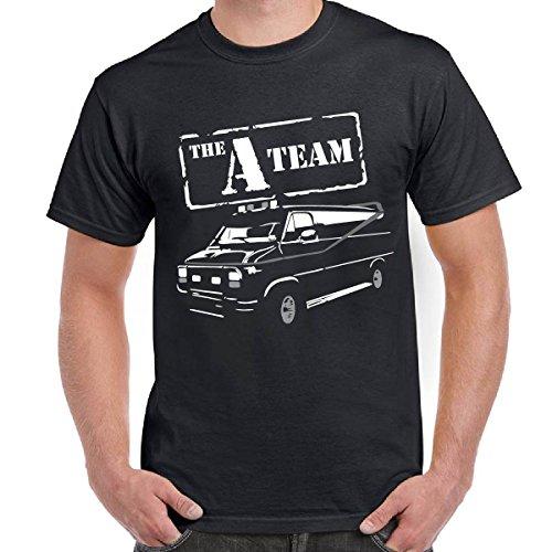 T-Shirt Uomo Maglietta Scura Stampa Telefilm Anni 80 Vintage A-Team Van Logo, Colore: Nero, Taglia: S